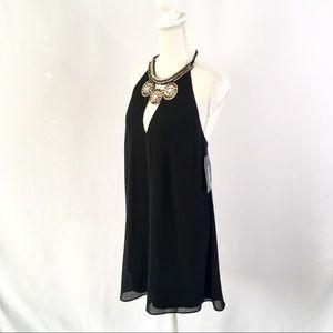 NWT Black Mini Loose Bebe Halter Dress